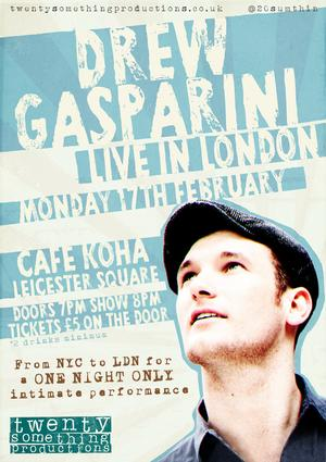 Drew Gasparini Flies from NYC For LIVE IN LONDON, Feb 17