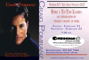 Craig Pomranz to Return to The Gardenia Restaurant & Lounge with HERE'S TO THE LADIES, 2/21-2/22