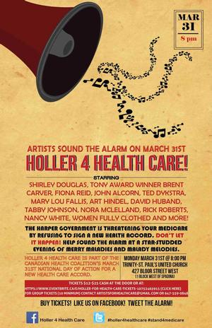 Shirley Douglas and Brent Carver Join Lineup for HOLLER 4 HEALTH CARE! 3/31 in Toronto