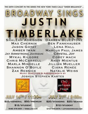 Lena Hall, Andy Mientus and More Join BROADWAY SINGS JUSTIN TIMBERLAKE at 54 Below, Le Poisson Rouge, July 2014