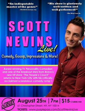 Bravo's SCOTT NEVINS to Perform Live in NYC, 8/25