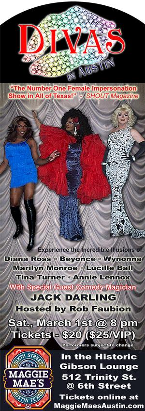 DIVAS IN AUSTIN to Premere 3/1 at Gibson Lounge