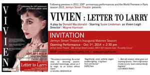 VIVIEN: LETTER TO LARRY, Starring Susie Lindeman, Comes to Jermyn Street Theatre, Sept 29-Nov 5