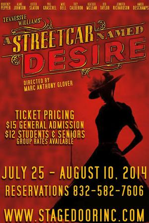 Stage Door Inc. Presents A STREETCAR NAMED DESIRE, 7/25-8/10