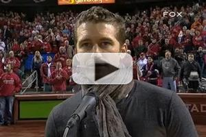 VIDEO: GLEE's Matthew Morrison Sings National Anthem at MLB Championship