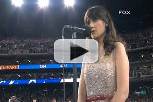 STAGE TUBE: Broadway-Bound Zooey Deschanel Sings the National Anthem at Game 3 of the World Series