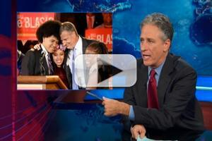 VIDEO: Jon Stewart Tries Out de Blasio-Style Hair on THE DAILY SHOW