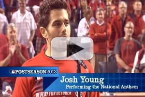 STAGE TUBE: Josh Young Sings National Anthem at National League Division Series