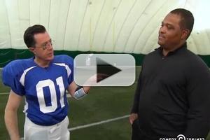 VIDEO: Stephen Gets Crash Course on Quarterbacking on COLBERT