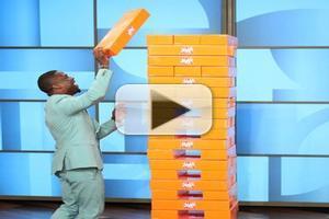 VIDEO: Kevin Hart Competes for Giant Jenga Championship on ELLEN