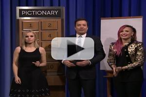 VIDEO: Demi Lovato Takes on Kristen Bell in Pictionary Competition on TONIGHT SHOW