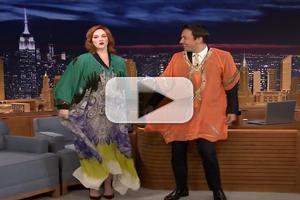VIDEO: JIMMY FALLON Tries on Christina Hendricks' Kaftan Dress