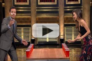 VIDEO: Miranda Kerr & Jimmy Play 'Flip Cup' Drinking Game on TONIGHT SHOW