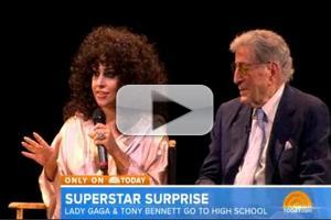 VIDEO: Lady Gaga & Tony Bennett Visit Frank Sinatra School of the Arts
