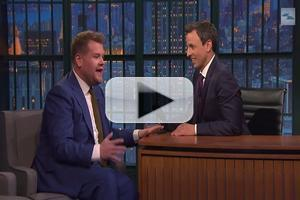 VIDEO: James Corden Praises Future Time Slot Competitor Seth Meyers on LATE NIGHT Appearance