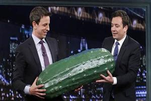 VIDEO: Jimmy Fallon Passes LATE NIGHT 'Pickle' to New Host Seth Meyers