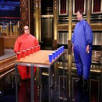 VIDEO: Danny Devito & Jimmy Fallon Don Fat Suits for 'Inflatable Flip Cup'