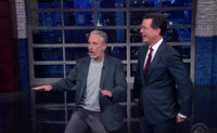 VIDEO: Jon Stewart Crashes Stephen Colbert's Monologue on LATE SHOW