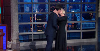 VIDEO: Helen Mirren's On-Air Surprise Kiss Leaves Stephen Colbert Speechless