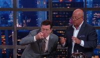 VIDEO: Andrew Zimmern Gets Stephen Colbert to Eat Brains