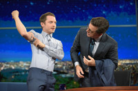 VIDEO: Elijah Wood Reveals Interesting Tattoo Ink on LATE SHOW