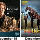 National Theatre Live Presents FRANKENSTEIN, HAMLET and WAR HORSE