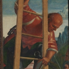 MAN ON A LADDER by Italian Renaissance Painter, Luca Signorelli, Displayed at the National Gallery