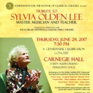 Tribute to Sylvia Olden Lee Slated for Carnegie Hall