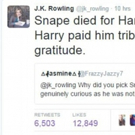 JK Rowling Uses Twitter to Answer Questions About Snape