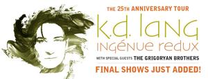 k.d. lang Final 25th Anniversary Tour Shows Announced