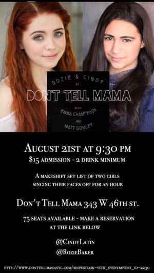 Rozie & Cindy, Featuring Emma Champeaux, Matt Gumley, to Play Don't Tell Mama