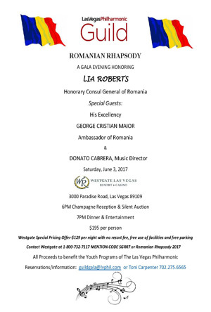 Las Vegas Philharmonic Guild Hosts ROMANIAN RHAPSODY GALA To Honor Lia Roberts, 6/3