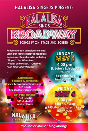 'Halalisa Goes Broadway: Songs from Stage and Screen' Set for Follen Community Church