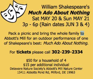 MUCH ADO ABOUT NOTHING to Play Abbott's Mill This May
