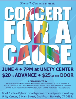 CONCERT FOR A CAUSE Set for Unity Center, 6/4