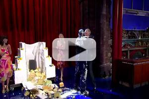 VIDEO: Bill Murray Pops Out of Cake on Final LETTERMAN Appearance
