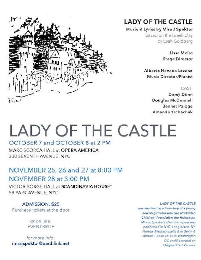 Lyric lyrics opera : Mira J. Spektor's LADY OF THE CASTLE Comes to Opera America Today