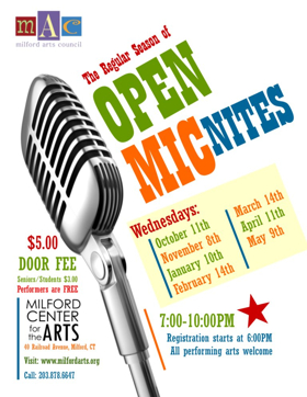 Open Mic Nites Set for Todays at Milford Center for the Arts