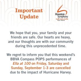 Houston Symphony Cancels POPS Series Opener Due to Impact of Hurricane Harvey