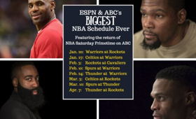 ESPN & ABC Combine for Biggest NBA Regular-Season Schedule Ever