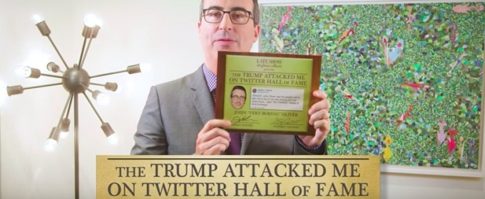 VIDEO: John Oliver Joins COLBERT's 'Trump Attacked Me On Twitter' Hall Of Fame