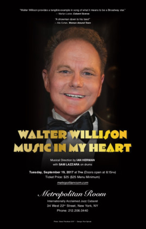 Tony Nominee Walter Willison Comes to the Metropolitan Room this Month