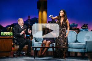 VIDEO: Olivia Munn Gifts Mindy Kaling a Stun Blaster on LATE LATE SHOW