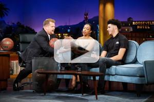 VIDEO: Lonzo Ball & Sonequa Martin-Green Play 'Taller Or Shorter' on LATE LATE SHOW