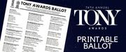 Download BroadwayWorlds Printable Ballot for the Tony Awards