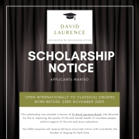 Inaugural David Laurence Scholarship for Developing Artists Announced Photo