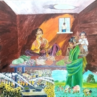 Bay Area Artist Sujata Tibrewala Captures Indian Farmers' Plight In A New Painting Photo