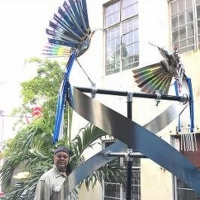Artist Bernard Stanley Hoyes Delivers Symbolic Spiral Steel Sculpture To Jamaica Duri Photo