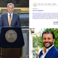 Bill De Blasio Awards David Serero With The Certificate Of Recognition From The City  Photo