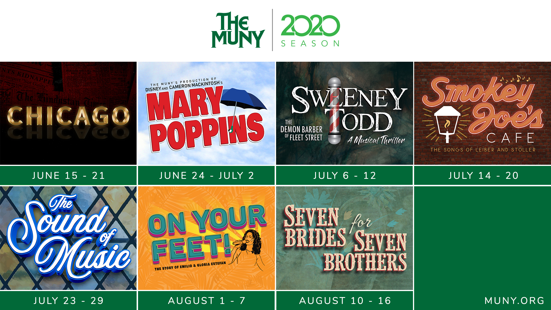 Muny Announces 2020 Season Featuring Regional Premiere Of ON YOUR FEET, MARY POPPINS, SWEENEY TODD & More!